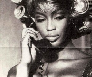 Naomi Campbell, model, and black and white image