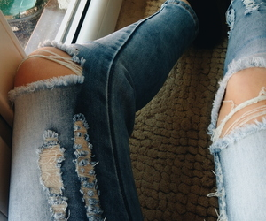 mine, ripped jeans, and jeans image