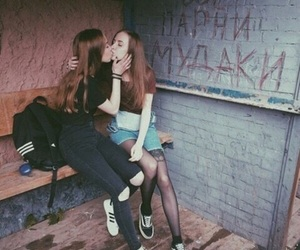 girl, lesbian, and kiss image