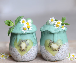 fruit, smoothie, and flowers image