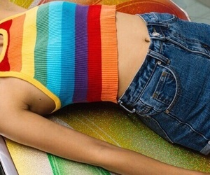 rainbow, jeans, and theme image