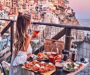 girl, travel, and food image