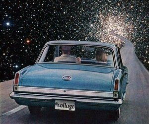 car, stars, and galaxy image