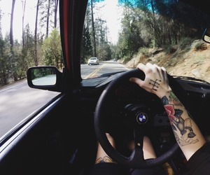tattoo, car, and nature image