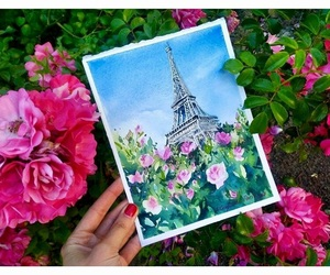 eiffel tower, france, and hot pink image