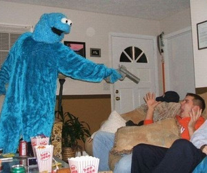 cookie monster, gun, and meme image