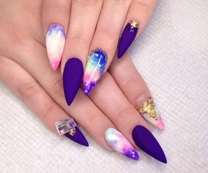 nails, galaxy, and purple image