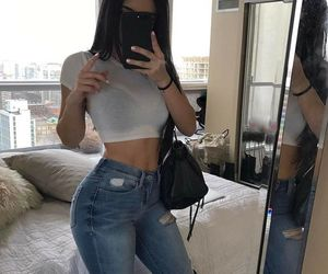 girl, mirror selfie, and jeans image