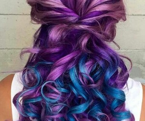 hair, blue, and curly hair image