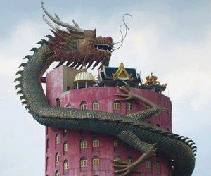 dragon and building image
