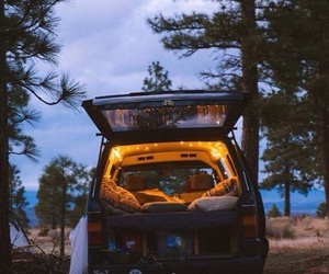 car, forest, and nature image
