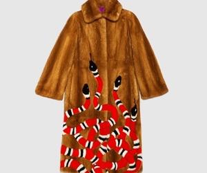 fashion, fur coat, and snake image