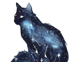 painting, cat, and galaxy image