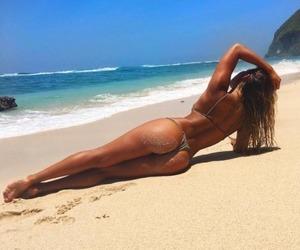 beach, bikini, and fit image