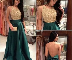 dress, prom dress, and green image