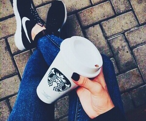 starbucks, nike, and black image