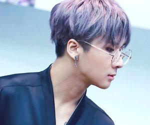 glasses, Hot, and purple hair image