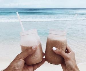 beach, coffee, and sand image