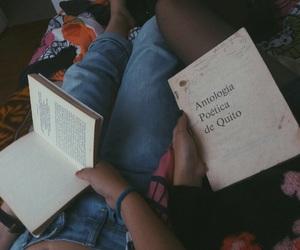 best friends, books, and dark image