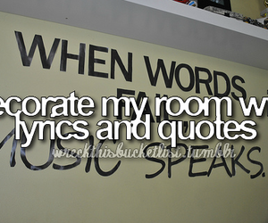 quote, room, and bucket list image