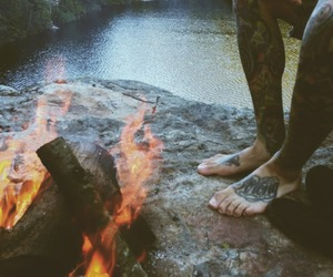 tattoo, fire, and boy image