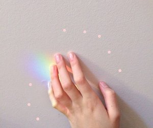 aesthetic, rainbow, and hand image