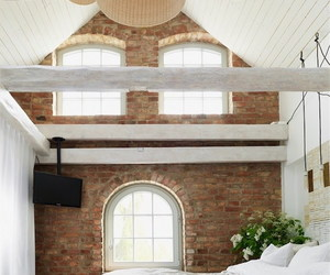 bedroom, exposed beams, and home decor image