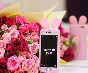flowers, my birthday, and pink image