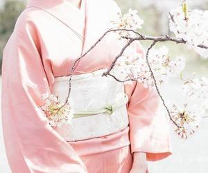 kimono, pink, and sakura image