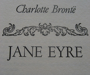 charlotte bronte, jane eyre, and book image