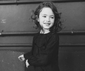 black and white, child, and curles image