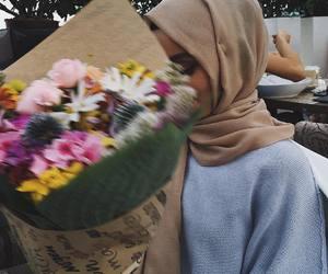 flowers, hijab, and islam image