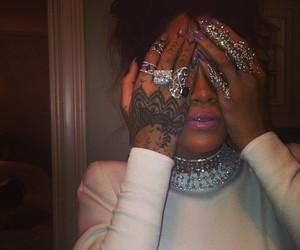 rihanna, rings, and tattoo image