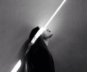 girl, light, and black and white image