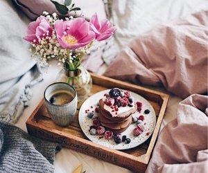 breakfast, coffee, and flowers image