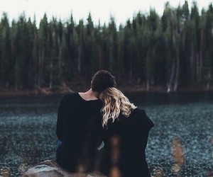 couple, black, and nature image