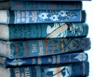 Bleu, blue, and books image
