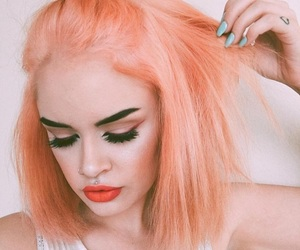 hair, makeup, and orange image