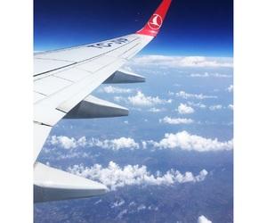 beautiful sky, blue, and airplaine image