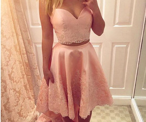 prom dresses a-line, short homecoming dress, and homecoming dress high low image