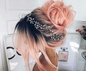 bun, pink hair, and style image