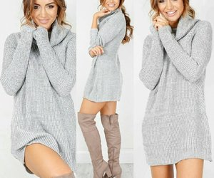 model and sweater dress image