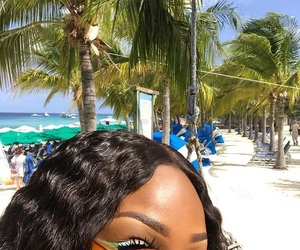 beautiful, palm tree, and makeup image