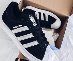 black and white, adidas, and shoes image