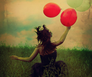 girl, balloons, and red image
