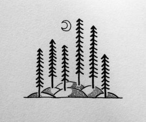 doodle, forest, and hill image