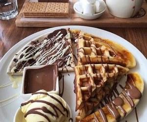 food, chocolate, and waffles image