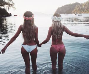 summer, flowers, and bikini image