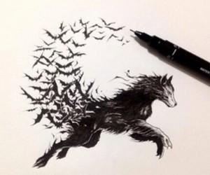 wolf, art, and bat image
