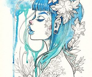 art, blue, and girl image
